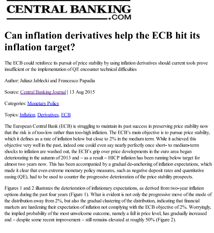 Can inflation derivatives help the ECB hit its inflation target?